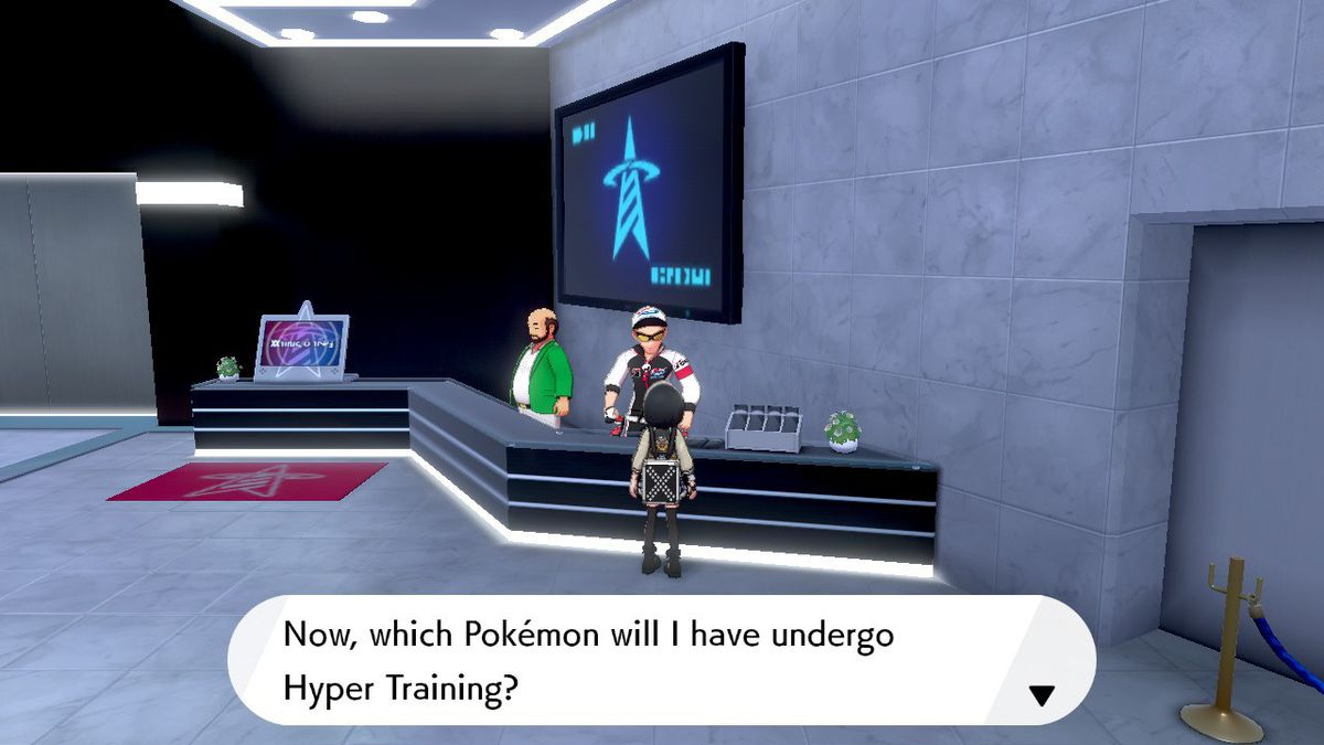 A Pokémon Trainer stands in the Battle Tower, talking to the NPC who Hyper Trains Pokémon