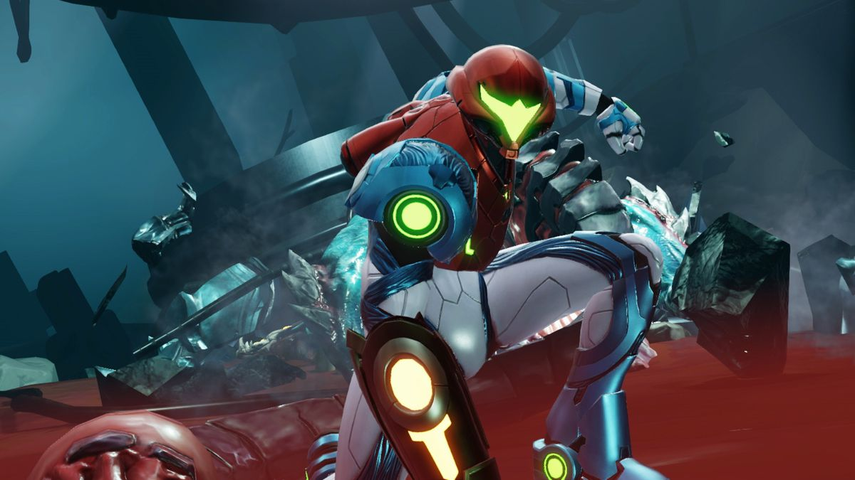 Samus Aran does a three-point hero landing pose in Metroid Dread
