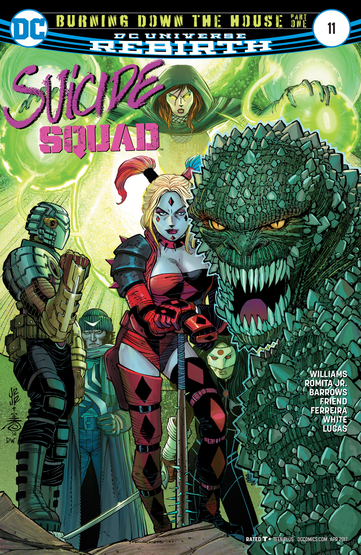Harley Quinn, Killer Croc, the Enchantress, Boomerang, and Deadshot on the cover of Suicide Squad #11, DC Comics (2017).