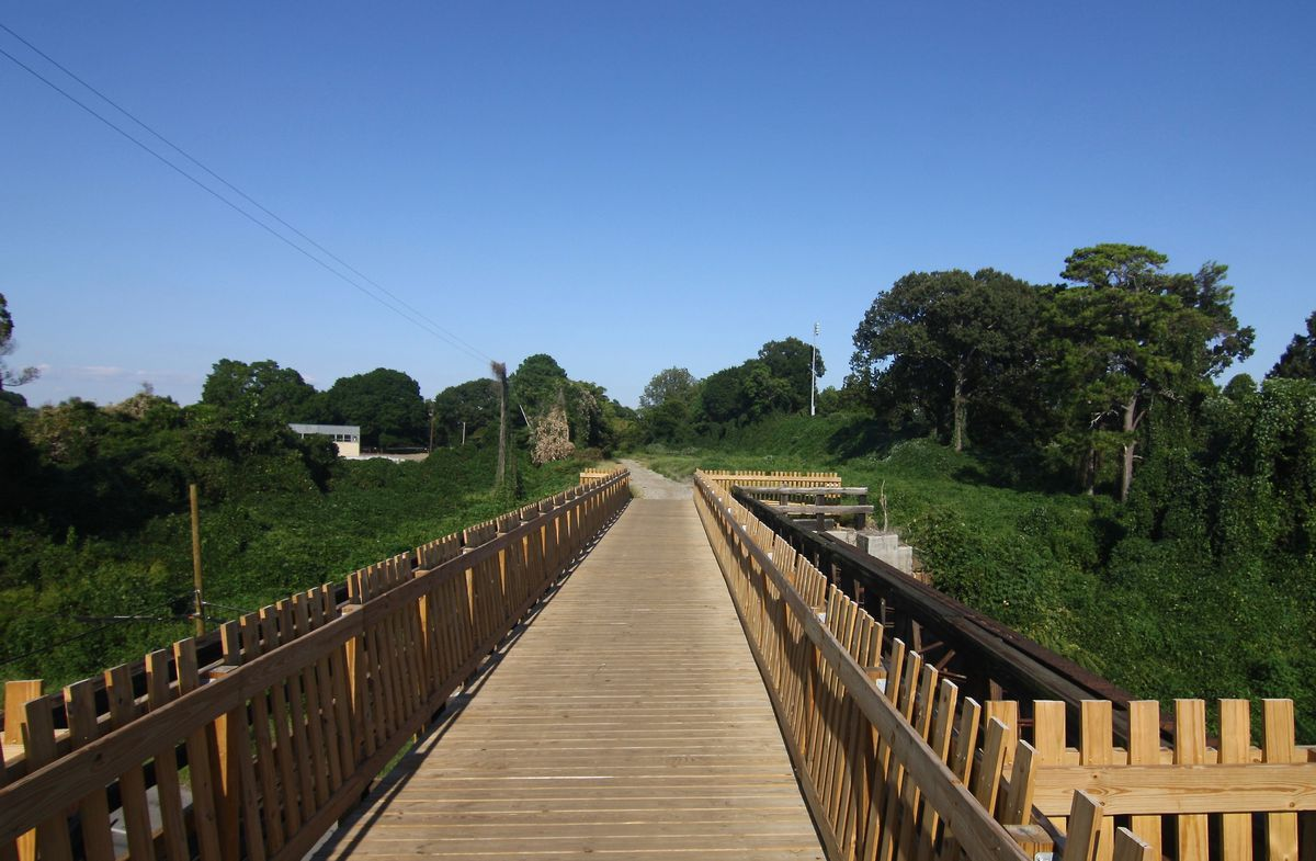A wooden bridge is shown in a landscape of kudzu and trees.