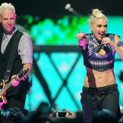 Gwen Stefani and Tom Dumont of No Doubt perform at the iHeart Radio Music Festival on Friday, Sept., 21, 2012 at the MGM Grand Arena in Las Vegas.