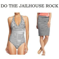 """Halter Swimsuit in Black/White Stripe and Striped Pencil Skirt in Black Stripe Bottom, <a href=""""http://oldnavy.gap.com/browse/product.do?cid=52005&vid=1&pid=384946002"""">$14.50 (on sale from $29.94)</a> and <a href=""""http://oldnavy.gap.com/browse/product.do?"""