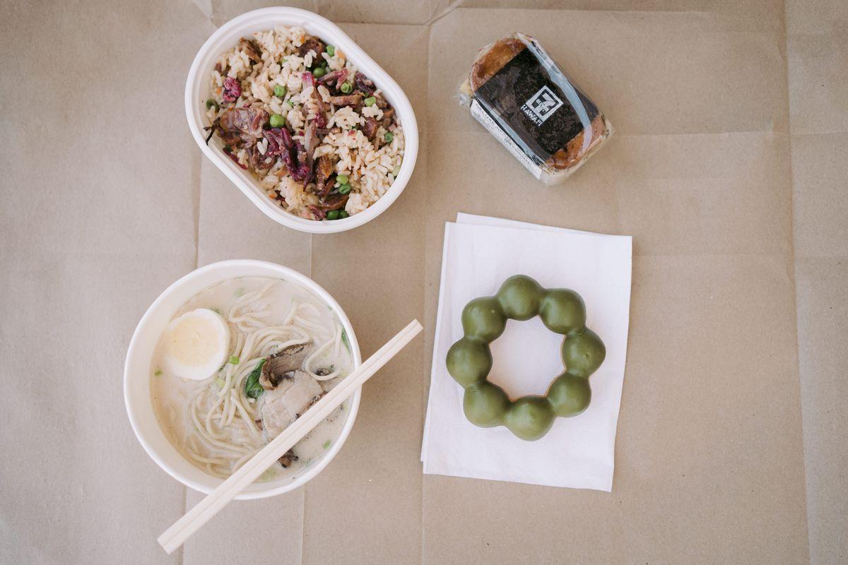 Four dishes including char siu fried rice, deluxe spam musubi, matcha mochi donut, and pork tonkatsu ramen