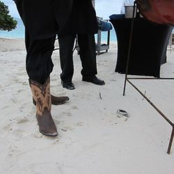 Chef Lisa Sellers' cowboy boots—bought in Texas and worn specially for this occasion