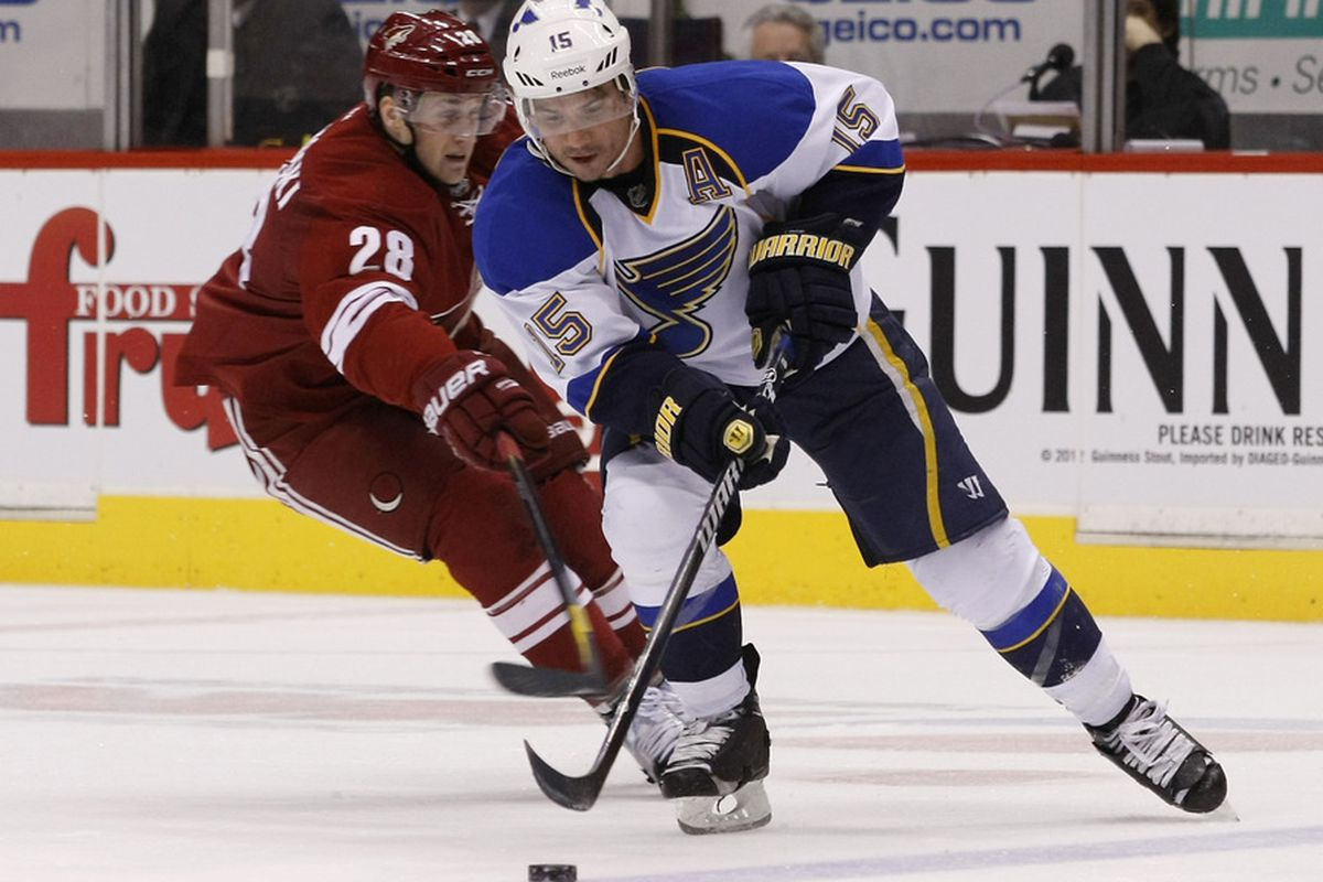 March 25, 2012; Glendale, AZ, USA; /St. Louis Blues right wing Jamie Langenbrunner (15) shields Phoenix Coyotes left wing Lauri Korpikoski (28) from the puck in the third period at Jobing.com.  Mandatory Credit: Rick Scuteri-US PRESSWIRE