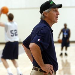 Jazz coach Jerry Sloan watches Jazz hopefuls during a practice Monday, July 12, 2004.