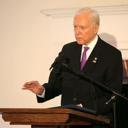 Sen. Orrin Hatch speaks during a Fight for Utah Children event with Children's Service Society at the Memorial House in Salt Lake City on Monday, Oct. 17, 2016.