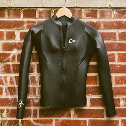"Rash wetsuits long-sleeve topper, <a href=""http://pilgrimsurfsupply.com/store/rash-wetsuits-l-s-topper-k9-2mm-pe%28ex%29-womens-wetsuit-top/dp/18656"">$275</a>"