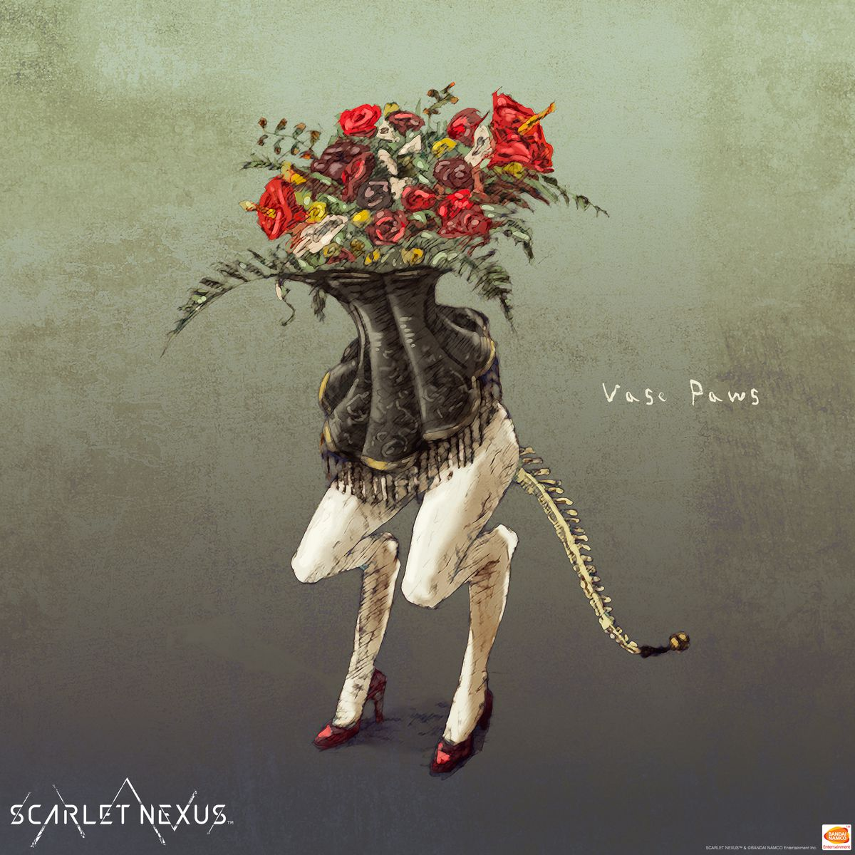 Concept art of an Other monster from Scarlet Nexus with flowers sprouting out of a corset, bird legs, high heels, and a long tail that's all exposed spine.