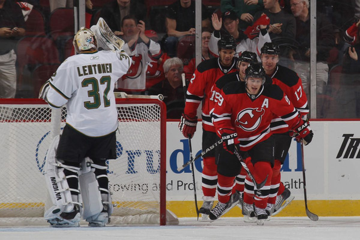 This was after Parise scored his first goal of the 2010-11 season.  Read on to see a breakdown of the goal that led to the Devils' celebration.  (Photo by Bruce Bennett/Getty Images)