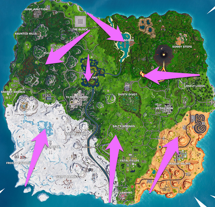 Fortnite flaming hoop and canon map locations