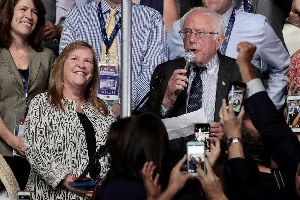 Bernie Sanders participates in the roll call vote that selected Hillary Clinton as the Democratic nominee