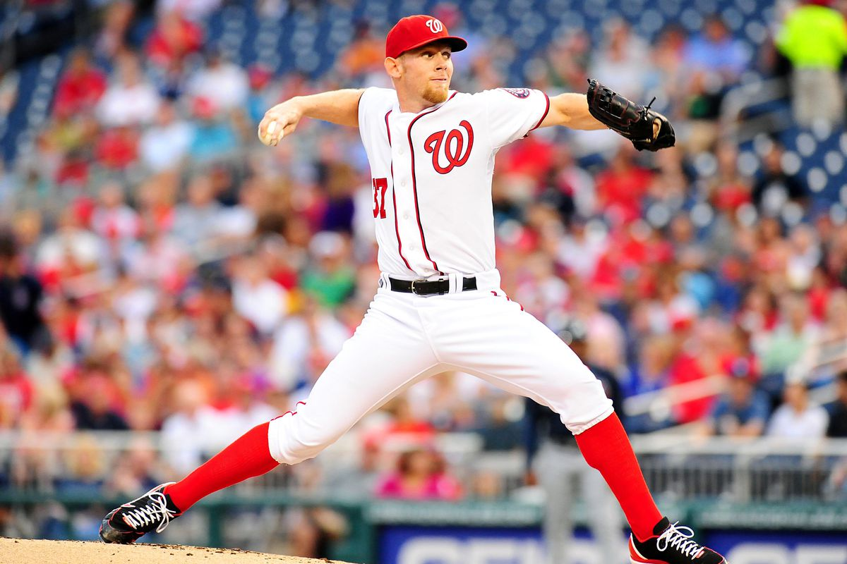 July 20, 2012; Washington, D.C. USA; Washington Nationals pitcher Stephen Strasburg (37) throws a pitch in the game against the Atlanta Braves at Nationals Park. Mandatory Credit: Evan Habeeb-US PRESSWIRE