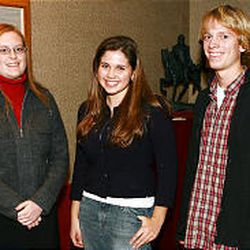 Winners of the Young Writers Contest: Kirsten Hodgson of Sky View High, left, Elizabeth Rhondeau and James Stack of East High.