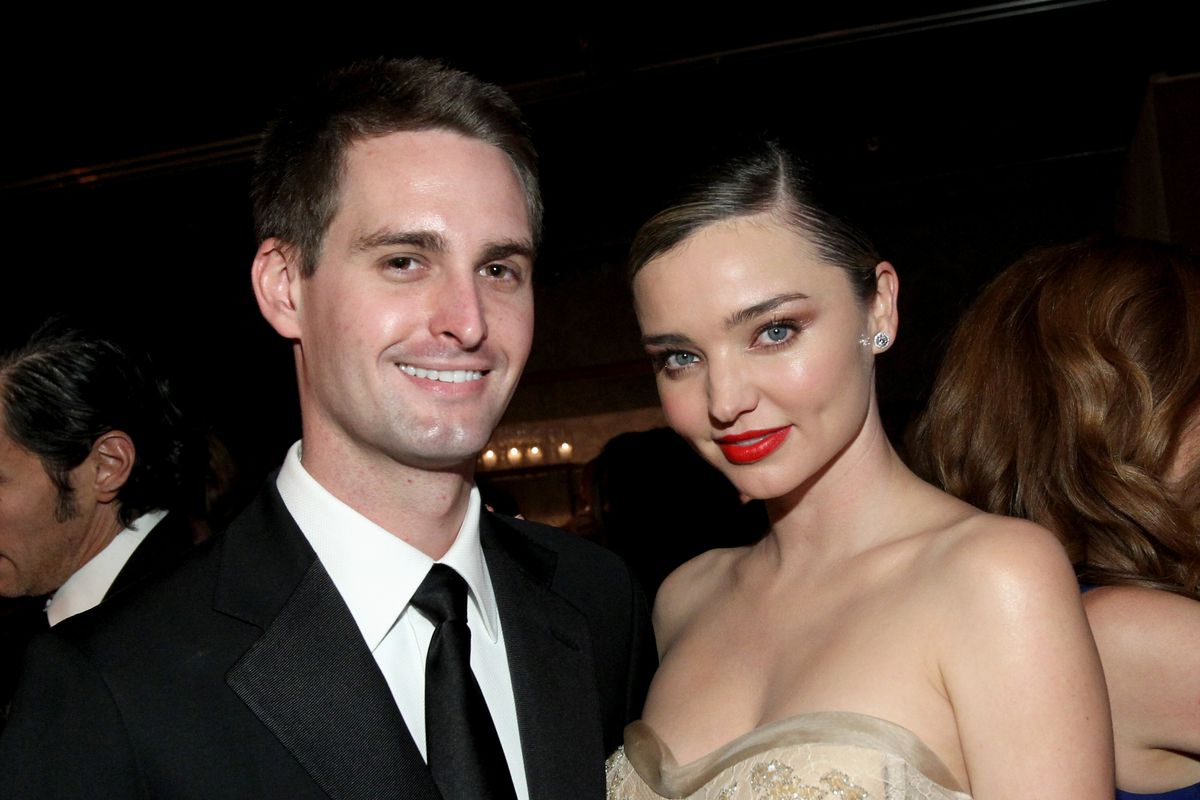 Founder, Snapchat Evan Spiegel (L) and model Miranda Kerr attend the Fifth Annual Baby2Baby Gala