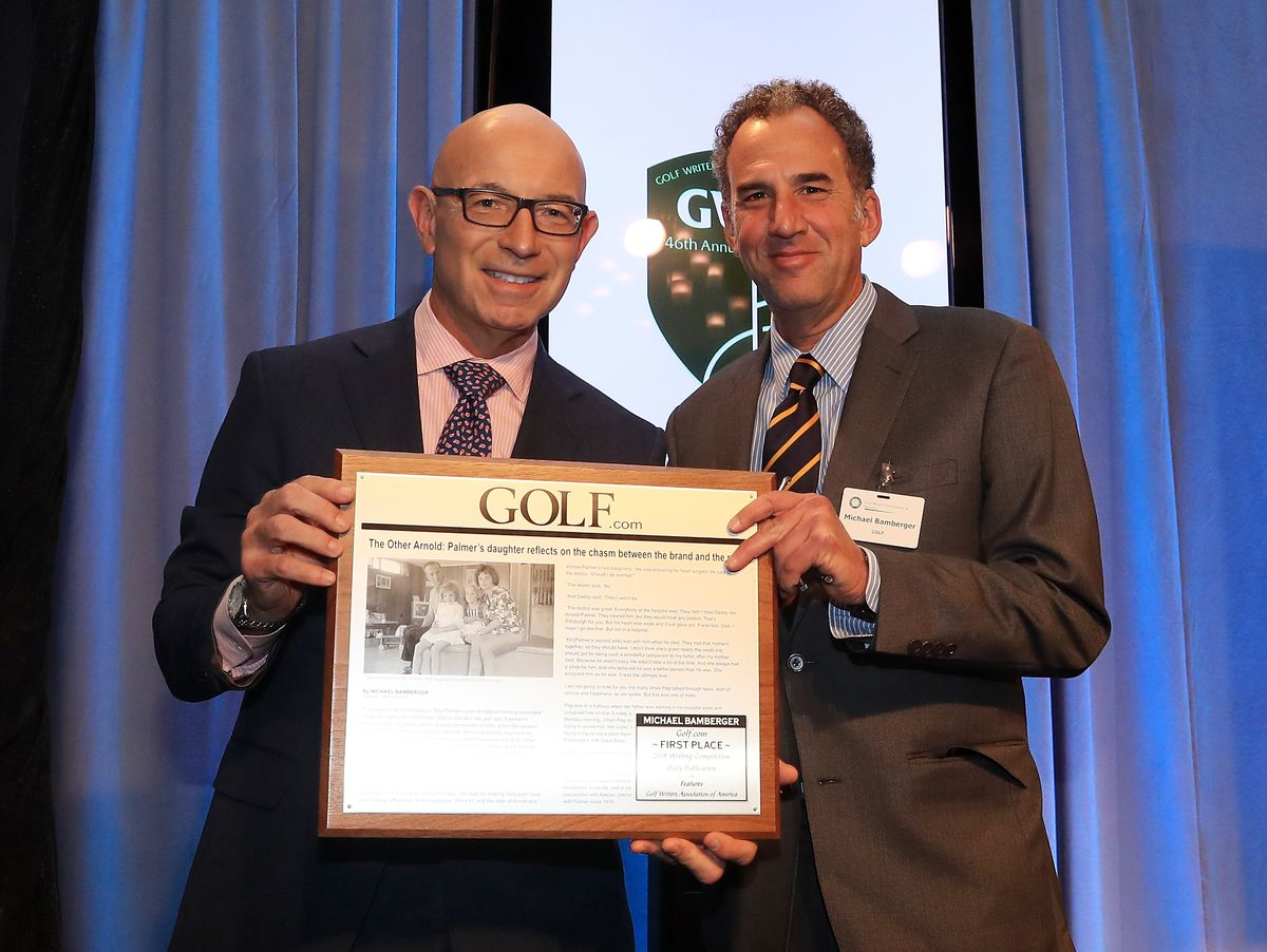 Bamberger, on the left, receiving a Golf Writers Association of America award in 2018.