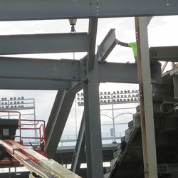 Steel being positioned in right-center field -