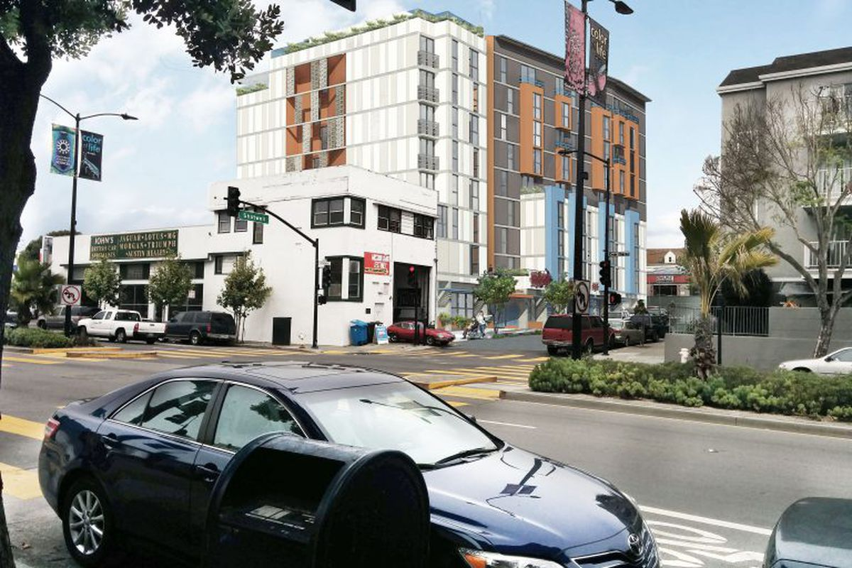A rendering of what the eight-story senior building on Shotwell would look like.