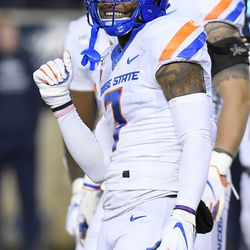 Boise State wide receiver Akilian Butler (7) smiles after Utah State cornerback DJ Williams called called for an unsportsmanlike-conduct penalty during the first half of an NCAA college football game Saturday, Nov. 23, 2019, in Logan, Utah.