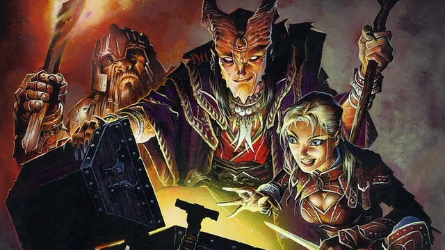 Art from the Dungeons & Dragons 5th edition Player's Handbook. Adventurers opening a chest.