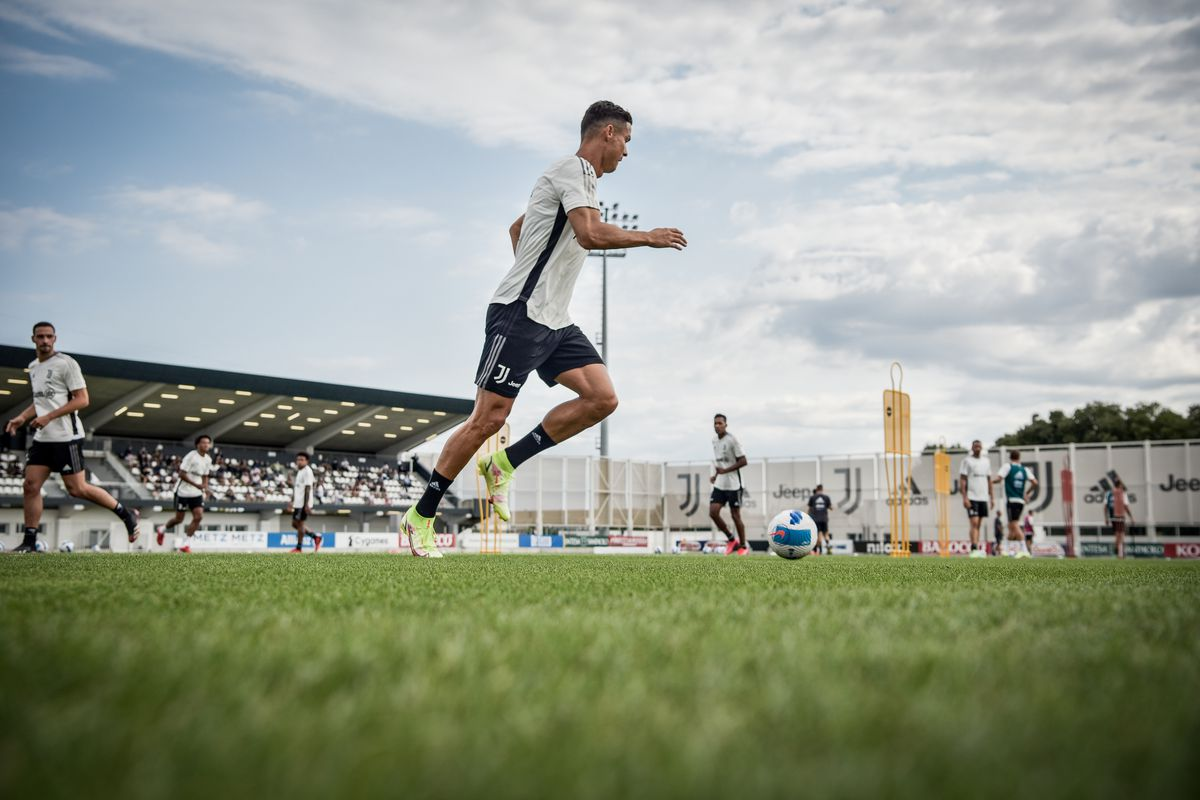 Juventus player Cristiano Ronaldo during a training session at JTC on August 25, 2021 in Turin, Italy.