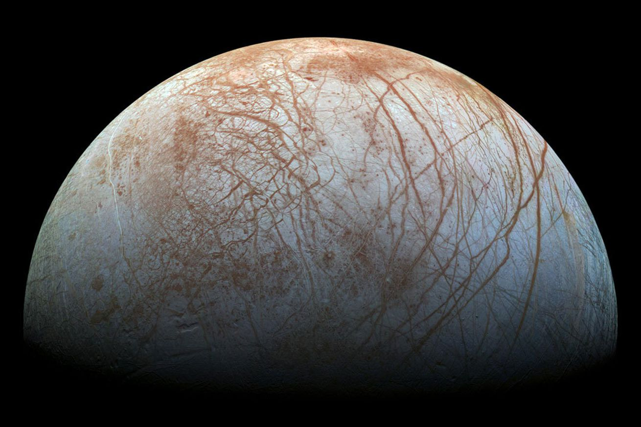 <em>Jupiter's icy moon Europa, as seen from the Galileo spacecraft</em>