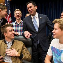 Rep. Jason Chaffetz, R-Utah, center, talks to members of the American Fork High School Student Council during a Utah delegation reception in the House Oversight and Government Reform Committee Room in the Rayburn Building in Washington, D.C., on Thursday, Jan. 19, 2017.