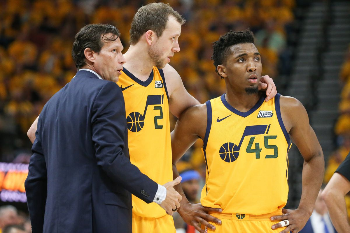Utah Jazz head coach Quin Snyder talks to forward Joe Ingles (2) and guard Donovan Mitchell (45) during Game 6 of the NBA playoffs first round series against the Oklahoma City Thunder at Vivint Smart Home Arena in Salt Lake City on Friday, April 27, 2018.