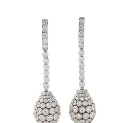 French Estate platinum and diamond drop ear pendants by Cartier. $69,500