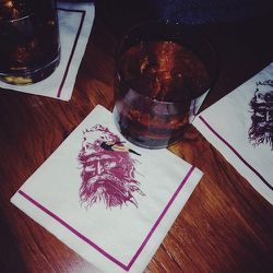 Whiskey! Finishing the day at Pioneer Saloon. Really into their napkins.