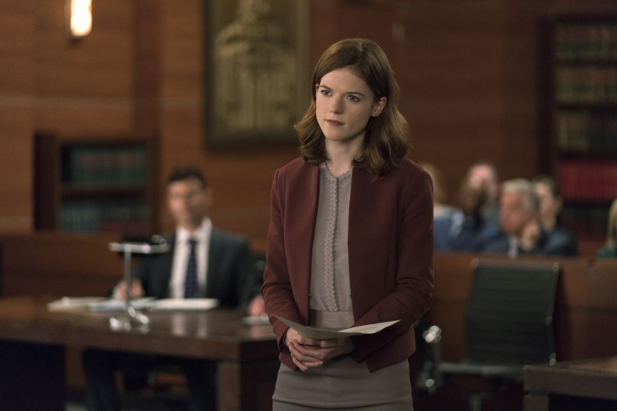 Maia Rindell (Rose Leslie) in a Theory blazer and Reiss blouse and skirt on The Good Fight.