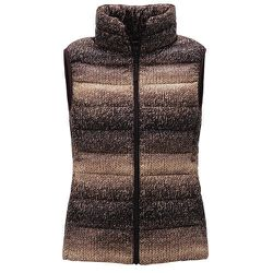 """<b>Uniqlo</b> Ultra Light Down Printed Vest in Brown, <a href=""""http://www.uniqlo.com/us/store/lifewear/women-ultra-light-down-printed-vest/079256-19-002?ref=womens-clothing%2Fwomens-outerwear%2Fwomens-jackets-and-coats"""">$49.90</a>"""