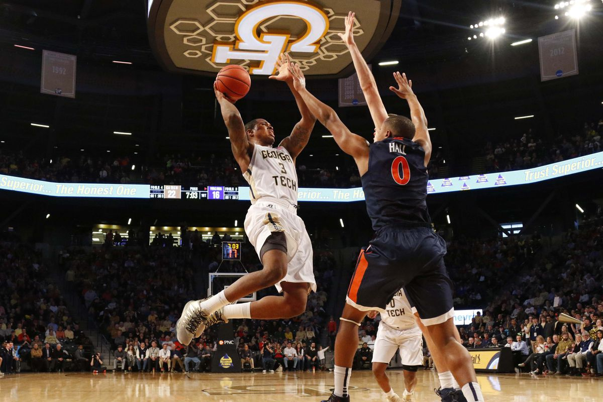 Georgia Tech's Marcus Georges-Hunt with a running jumper against Virginia. Guards getting to the rim against the Hoos is one reason for this year's defensive struggles