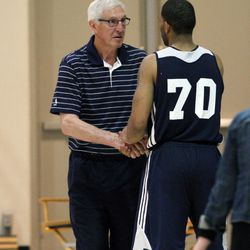 D.J. Newbill of Penn State, right, greets Jerry Sloan at Zions Bank Basketball Center in Salt Lake City, Wednesday, May 6, 2015.