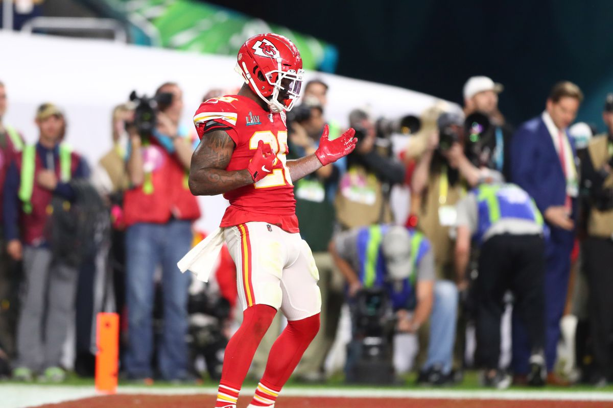 Kansas City Chiefs running back Damien Williams celebrates after a touchdown against the San Francisco 49ers in the fourth quarter in Super Bowl LIV at Hard Rock Stadium.