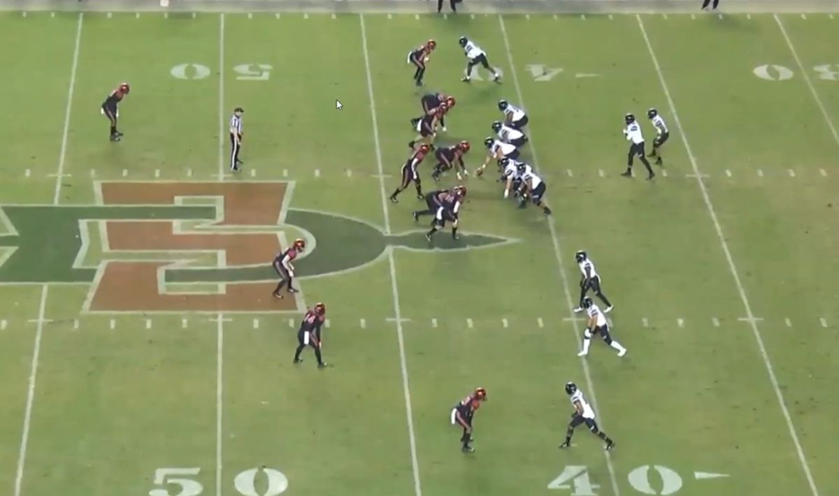 Hawaii offense against San Diego State defense. The Hawaii offense is in a Shotgun Trips formation, with three receivers to the left of formation. San Diego State's defense has six at the line of scrimmage, showing a blitz look, with one deep safety and man coverage across the board. The single corner is in press coverage.