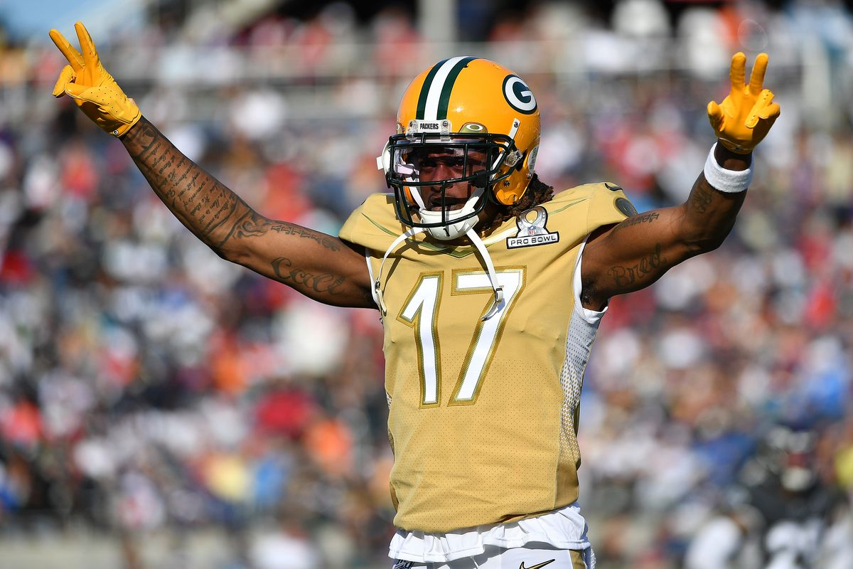 Davante Adams #17 of the Green Bay Packers celebrates during the 2020 NFL Pro Bowl at Camping World Stadium on January 26, 2020 in Orlando, Florida.