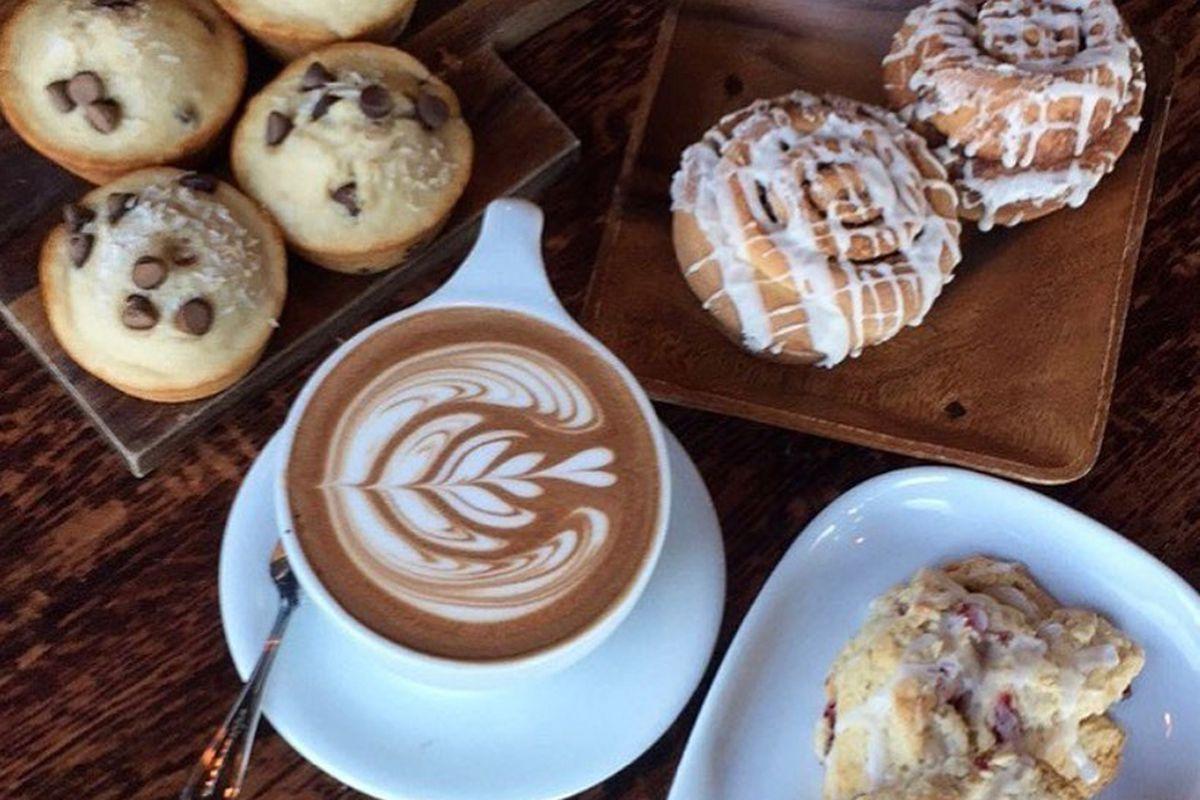 Scones, cinnamon rolls and chocolate chip muffins, on the menu at Tru Bru Organic Coffee.