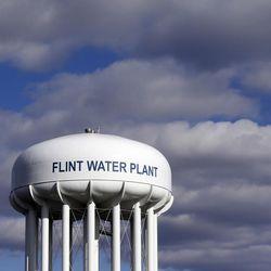The Flint Water Plant tower in Flint, Mich.