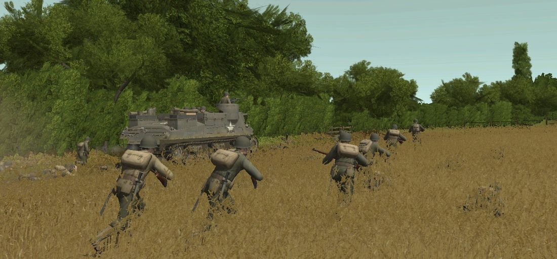 Combat Mission - soldiers running through tall grass