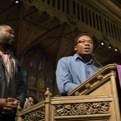 Ja'Mal Green speaks in support of Cook County State's Attorney Kim Foxx. | Max Herman/For the Sun-Times
