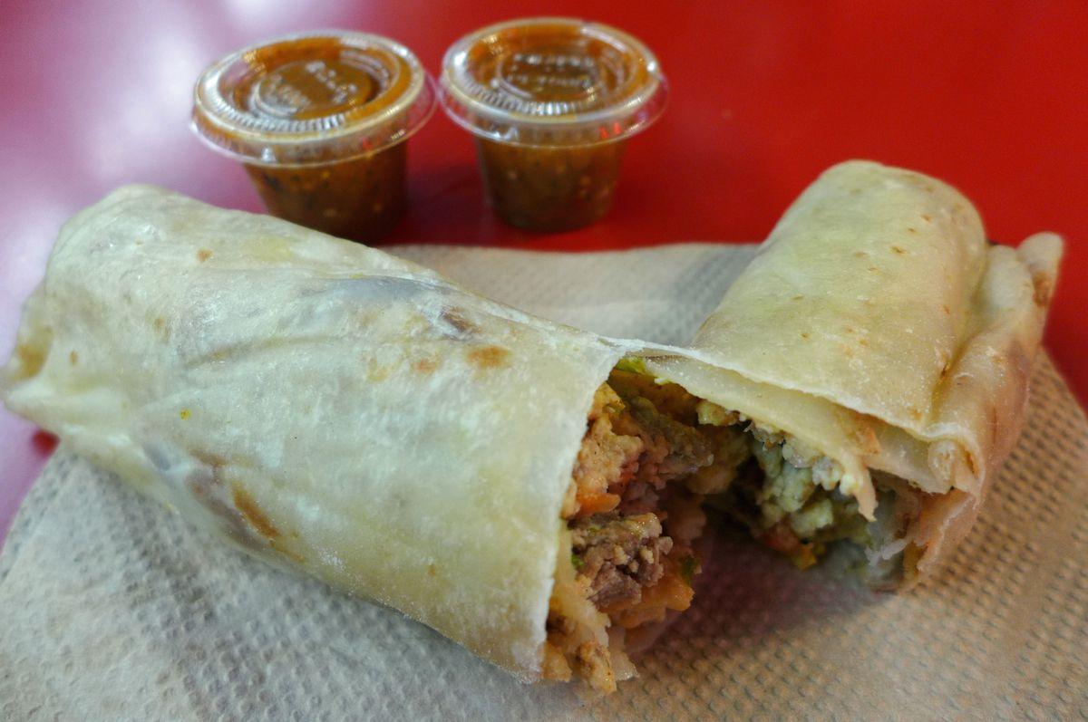 Los Tacos No. 1's breakfast burrito