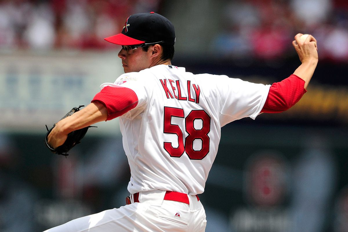 ST. LOUIS, MO - JUNE 10: Joe Kelly #58 of the St. Louis Cardinals throws to a Cleveland Indians batter during his major league debut at Busch Stadium on June 10, 2012 in St. Louis, Missouri. (Photo by Jeff Curry/Getty Images)