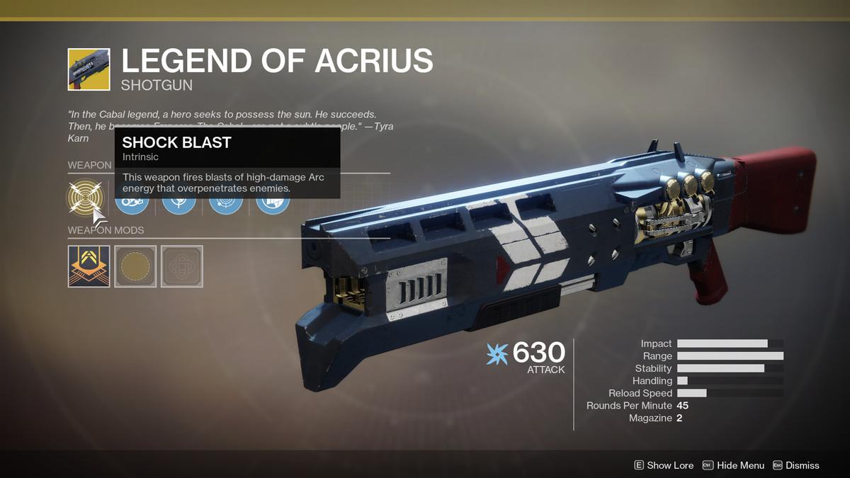 Legend of Acrius Exotic Destiny 2