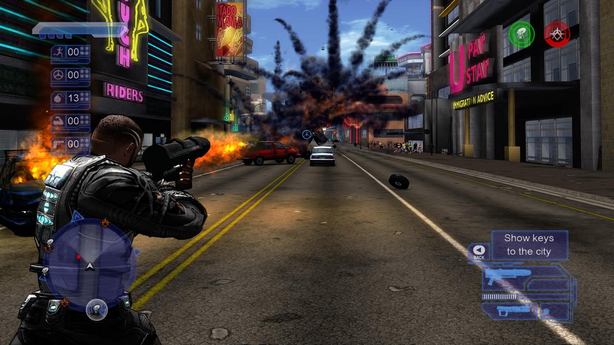 an Agent firing a rocket launcher down the street Crackdown