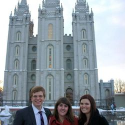Liza Morong with former missionaries who served in Boston, Steven VanderHoek and Shalysa Meier. Meier was one of the sister missionaries who taught Morong and is still a close friend.