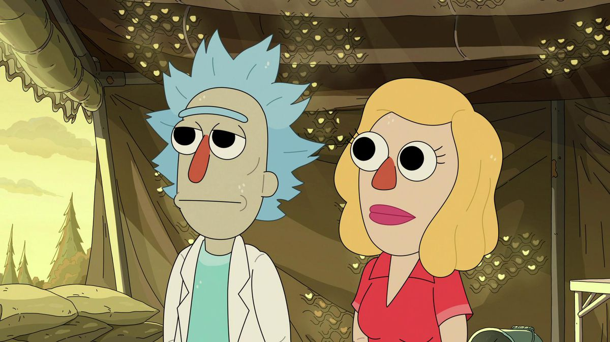 """Muppet Rick and Beth in Rick and Morty season 5 episode """"Mortyplicity"""""""