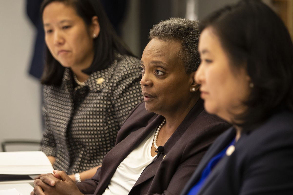 Mayor Lori Lightfoot (center), Chief Financial Officer Jennie Huang Bennett (left) and Budget Director Susie Park (right) meet with the Sun-Times editorial board on the day the mayor unveiled her 2020 budget.