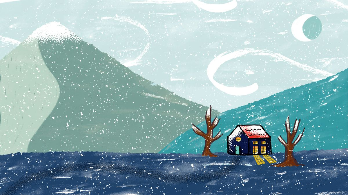 A small, cozy house in a wintry landscape