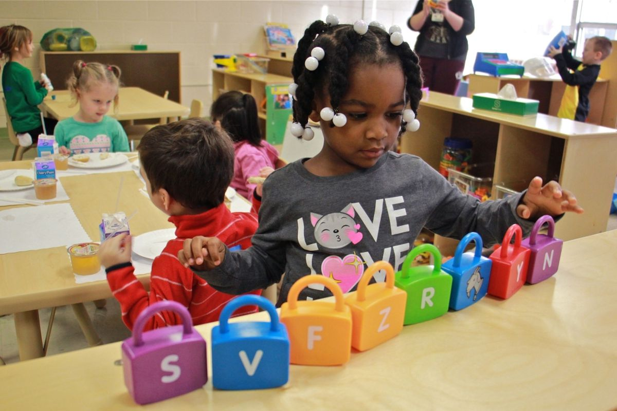 Makayla Grant gets busy on her first day of preschool at SPIN-Parkwood in January.